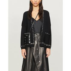 Maje Metallica Embellished Stretch-jersey Cardigan In Black Maje, Metallica, Parisian, Button Up Shirts, Fitness Models, Duster Coat, Crop Tops, How To Wear, Jackets