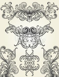 Baroque Ornamental Scrolls Royalty Free Stock Vector Art Illustration