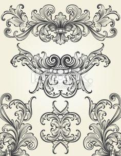 Baroque Ornamental Scrolls Royalty Free Stock Vector Art Illustration