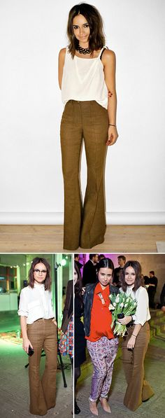 MIROSLAVA DUMA HIGH WAISTED TWEED BROWN TAN WIDE LEG FLARE PANTS EYEGLASSES FRAMES NATASHA GOLDENBERG PREGANANCY STYLE MOM WHITE TANK TOP WHITE BUTTON UP