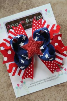 America Sweetie Bow-- red white and blue with glitter star --Memorial Day and 4th of July on Etsy, $10.95