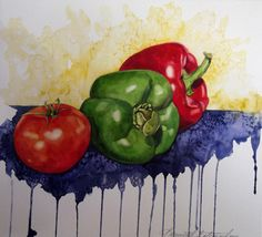 Kenneth Gatewood   WATERCOLOR Fruit Painting, Watercolour Painting, Watercolors, Bell Paper, Vegetable Painting, Veggie Art, Gcse Art, Fruit And Veg, Painting Techniques