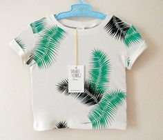 PALM LEAF baby and kid shirt. 2color van DoubleYellowLine op Etsy, $36.00