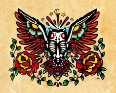 Day of the Dead OWL Old School Tattoo Art Print by illustratedink