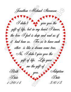 Adoption Gift Adoption Poem Adoption Print by TheCraftingCouple