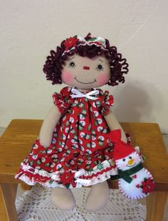 """10"""" Primitive Raggedy Ann cloth doll red Christmas dress stitched face & snowman #NaivePrimitive"""