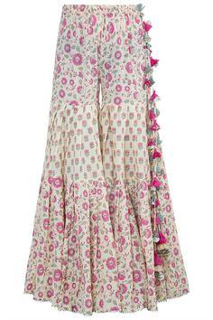Yellow Block Printed Gharara Set Design by Maayera Jaipur at Pernia's Pop Up Shop Pakistani Fashion Casual, Indian Fashion Dresses, Pakistani Dress Design, Indian Designer Outfits, Girls Fashion Clothes, Indian Fashion Designers, Fashion Outfits, Clothes For Women, Pakistani Dresses