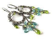 Dangle silver wire wrapped earrings, aqua blue and green, apatite, peridot