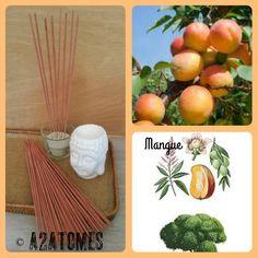 Encens parfum mangue en bâton aux Huiles essentielles naturelles - pochette de 10 bâtons de la boutique A2ATOMES sur Etsy