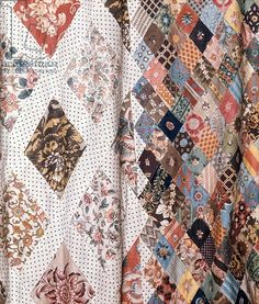 Detail of a patchwork quilt made by Mrs Austen, late 18th century