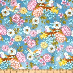 Cotton Quilt Fabric Peaceful Pastimes Large Floral With Birds Blue 1/2 Yard - product images  of