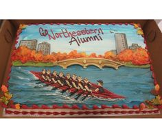 Men's Rowing Crew cake for Northeastern University Alumni. #gonu #crew