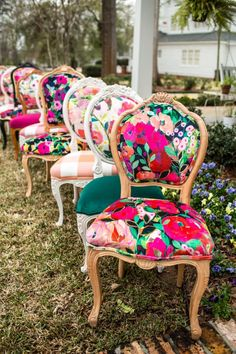 Credit: Fabric by Carrie Schmitt + Chairs by Chair Whimsy Home Decor Furniture, Furniture Makeover, Cool Furniture, Painted Furniture, Dining Chair Makeover, Reupholster Furniture, Chair Upholstery, Upholstered Furniture, Do It Yourself Design
