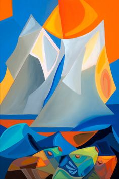 Abstract Sailboat Painting Ocean Theme with Undersea Fish Vivid Colors Modern Contemporary Stylish by SierraFineArt on Etsy Abstract Canvas, Canvas Art Prints, Sailboat Painting, Equestrian Gifts, Ocean Themes, Colorful Fish, Limited Edition Prints, Landscape Art, Modern Contemporary