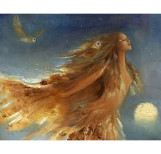 Owl Woman Art Print From Original Oil by PaintedMoonGallery, $65.00