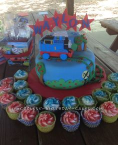 Train Cake and Cupcakes