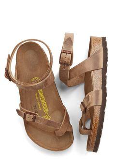 Italian Summer Sandal in Brown by Birkenstock - Flat, Leather, Tan, Solid, Boho, Festival, Summer, Variation