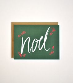 Noel Hand Lettered Christmas Card and Gold by Floating Specks, $4.00