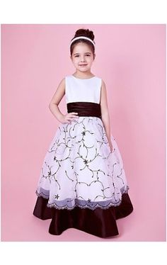 Embroidered A-line Organza And Satin Flower Girl Dress With Sash/Ribbon