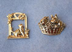 Avon Kitty and Bunny Pins Lot of 2 Vintage