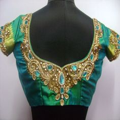 Embroidery and Maggam blouses : embroidery blouse designed Zardosi work with kundans (Embroidery and Maggam Work) for $80