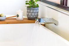 Waterfall bath spout with freestanding bath tub. Renovation by Northern Rivers Bathroom Renovations. Freestanding Bath, Pretty Beach, Holiday Park, Bathroom Images, Bath Tub, New South, Bathroom Renovations, Rivers, Waterfall