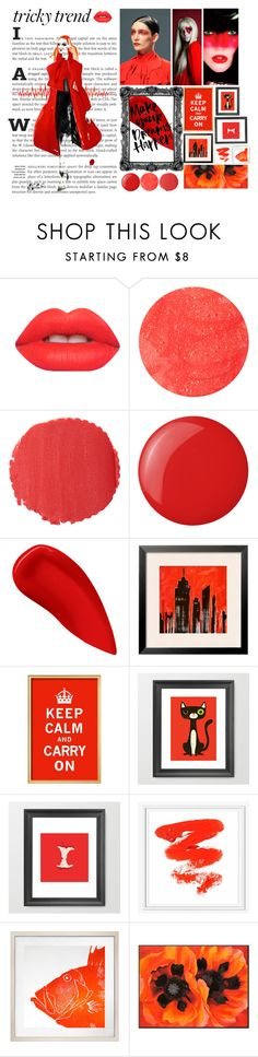 """""""Make up red."""" by ilovedemi4ever ❤ liked on Polyvore featuring beauty, Gareth Pugh, Lime Crime, Forever 21, Burberry, Essie, Lipstick Queen, West Elm and Dermond Peterson"""