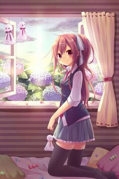 ✮ ANIME ART ✮ school uniform. . .vest. . .tie. . .pleated skirt. . .stockings. . .long hair. . .hair pulled back. . .ribbon. . .bedroom. . .windows. . .flowers. . .sunset. . .candy. . .cute. . .kawaii