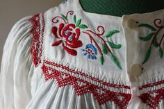 1930s Gauzy Cotton Embroidered Peasant Blouse