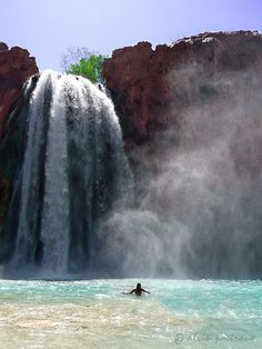 Havasu Falls, Arizona - horseback ride with the natives to the falls, camp overnight by the water, swim in the turquoise water... A beautiful oasis in the middle of a desert.