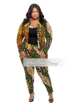 3f1a3a5d104 Final Sale Plus Size 2-Piece Jacket and Pants Suit in Tribal Print