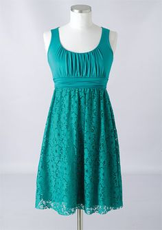 Pretty teal lace dress. Love it because it looks comfortable, and you can dress it up or down depending on the occasion :)