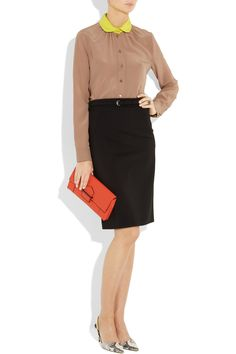 Gucci | Belted stretch-crepe pencil skirt | NET-A-PORTER.COM