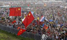 Faithful wait for the arrival of pope francis on the occasion of a mass at conclusion of the world youth day inkrakow, poland, sunday, july 31, 2016.