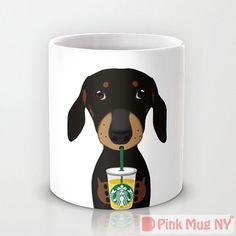 Personalized mug cup designed PinkMugNY - I love Starbucks - Dachshund