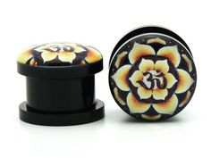 2g 6mm Brand New Acrylic Flower Ohm Symbol Ear Gauges Plugs Screw On Hindu Peace (Sold By Pair): Jewelry: Amazon.com