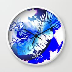 Boho Global Hot Wall Clock by Vikki Salmela, two hand painted pieces of art, a #tie-dye and a #tropical in #indigo blues and white on #home #decor for bedroom, kitchen or sun room. Coordinating products available; #duvet covers, bath #towels and mats, throw #pillows, #shams, #rugs, #mugs, wall #art and more! Decorate or find the perfect original #gift for the holidays.