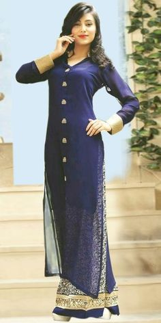 Georgeous Navy Blue Georgette Straight Salwar Suit With Dupatta.