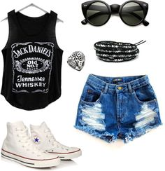 """""""hipster summer"""" by addiwood on Polyvore. Jack Daniels shirt • shorts • high waisted • sunglasses • white converse • Chuck Taylor's"""