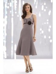 Satin Scoop Neck Knee-Length Empire Bridesmaid Dress