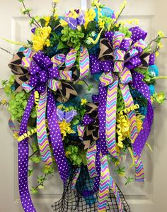 Summer Wreath, Mesh Wreath, Black, Turquoise, Purple, Home Decor on Etsy, $140.00