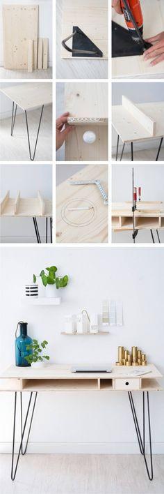 Mesa escritorio con tablas y pies hairpin - Vía sinnenrausch.blogspot.com