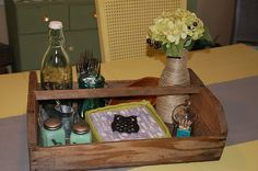 Love the mix of beauty and function in a tray on the table ... now to find the perfect tray/basket for my table!