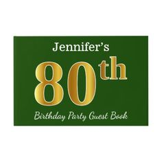 Green Faux Gold 80th Birthday Party  Custom Name Guest Book - diy cyo customize create your own personalize