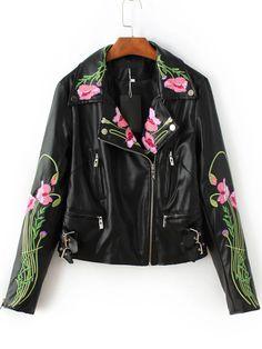 Black Floral Embroidery Oblique Zipper PU Jacket -SheIn(Sheinside)