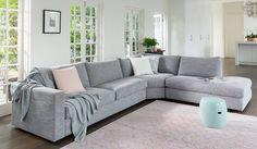 Plush Oasis sofa featuring Aspect fabric in 'Pumice'  https://www.plush.com.au/modulars/oasis-modular