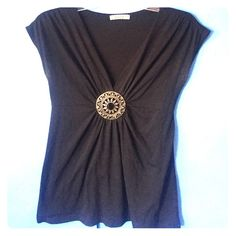 Black Medallion Top Very chic and fun top. Has a little hole on the side (shown in pic) but not noticeable when worn. Says small but could also fit a medium. Forever 21 Tops