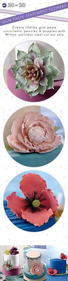 Make Gum Paste Statement flowers with Wilton cut-out sets