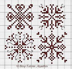 Snowflake cross stitch idea for the holidays. Xmas Cross Stitch, Cross Stitch Borders, Cross Stitch Charts, Cross Stitch Designs, Cross Stitching, Cross Stitch Embroidery, Cross Stitch Patterns, Blackwork, Le Blog De Vava