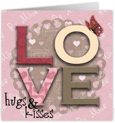 Love Hugs & Kisses vanaf €1,99 #wenskaart #kaartjesturen #greetingcard